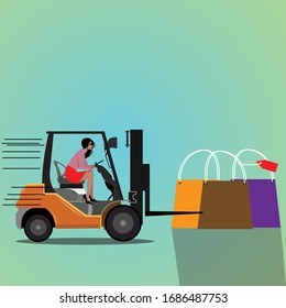 Woman driving a forklift with shopping bags Cartoon styled vector illustration.