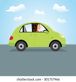 Woman driving green car. Happy young woman driving a car.