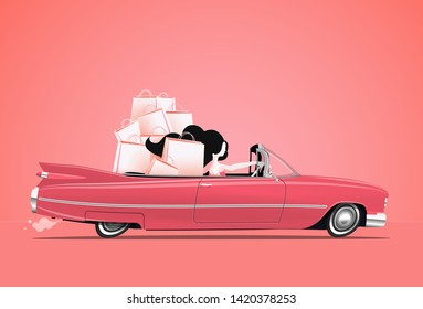 Woman driving a pink cabriolet car with shopping bags at backseats. Happy girl at shopping. Cartoon styled vector illustration.