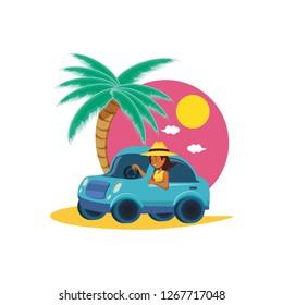 Woman Driving Car Stock Illustrations, Images & Vectors