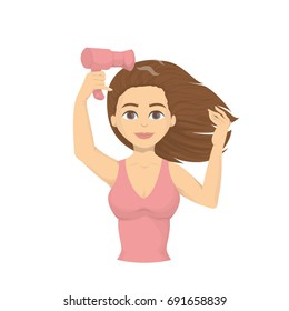 Woman drying hair with blowdryer. Fresh and clean hair.