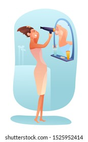 Woman drying hair vector illustration. Personal care concept. Young girl holding hairdryer flat character. Updoing, dressing, doing hairstyle. Bathroom interior. Party, date, event preparing process