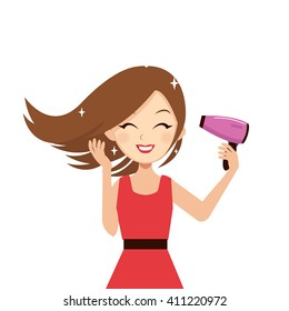 Woman drying her hair with hairdryer. Vector cartoon illustration.