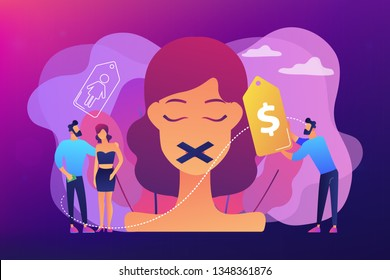 Woman with duct tape on mouth and price tag being trafficked and sexually exploited. Sex trafficking, human trafficking, criminal businesses concept. Bright vibrant violet vector isolated illustration