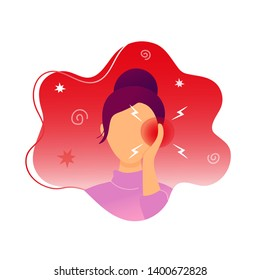 Woman with earache touching her ear. Flat modern trendy style.Vector illustration character icon. Isolated on white background.