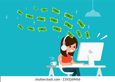 Woman earnings money from her computer flat design vector.