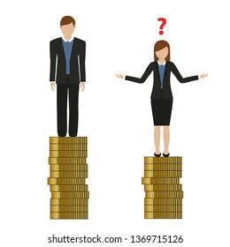woman earns less money than man discriminates vector illustration EPS10