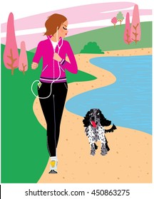 Woman with earphones running with a dog at the beach in the morning. Vector illustration