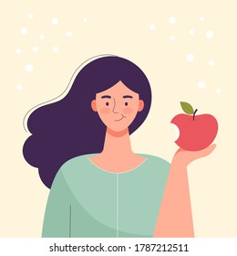 Woman is eating an apple. Diet food, healthy lifestyle, vegetarian food, raw food diet. Student snack. Flat cartoon vector illustration.