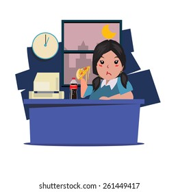 Woman eating junk food and soda at work. working late night - vector illustration