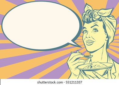 Woman eating morning porridge, pop art retro vector illustration. Tasty and healthy food
