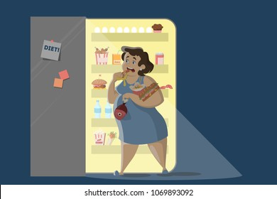 Woman eating at night near the fridge.