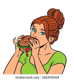 A woman eats a Burger. comics illustration drawing