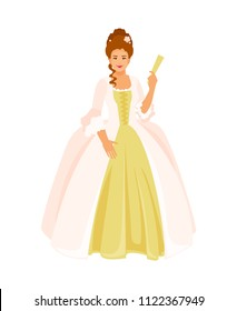 Woman in eighteenth-century dress. Rococo style. Vector illustration