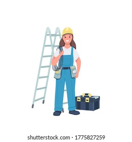 Woman electrician flat color vector detailed character. Gender equality. Cheerful female working with electrical equipment isolated cartoon illustration for web graphic design and animation