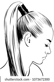 woman with elegant up ponytail