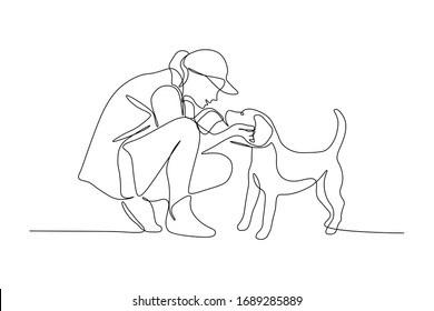 Woman embracing dog in continuous line art drawing style. Pet lover black linear sketch isolated on white background. Vector illustration