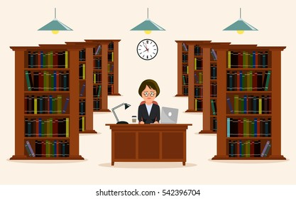 Woman employee of library. Concept of education. Reading in library a vector illustration.