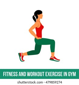 Woman is engaged in fitness, aerobics. Exercise training in the gym. Vector icon set fitness room in a flat style on a white background. People at the gym.