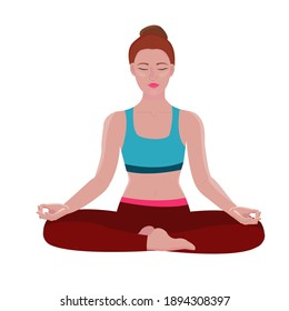 woman is engaged in yoga. The woman is sitting in the lotus position. stock vector illustration of yoga isolated on white. woman meditating, yoga asana for peace of mind.