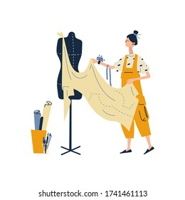 A woman enjoying their hobbies - creating fashion clothes designs. Fashion designer, needlewoman or seamstress working at home. Flat cartoon vector illustration on white background.