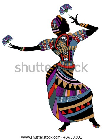 woman in ethnic clothes dancing dancing with flowers