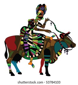 woman in the ethnic style on the back of a cow