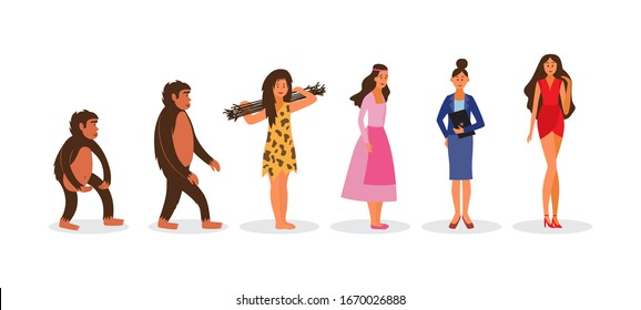Woman evolution from monkey to sexy model - Darwin chain of female ape evolving to cavewoman, businesswoman and lady in red dress. Isolated flat vector illustration