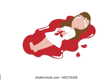 Woman excess wound bleeding cartoon