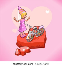 Woman excited about her bicycle, standing on huge heart stage, isometric view, vector illustration