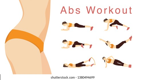 Woman Exercise posture to reduce fat belly. Illustration about healthy with workout