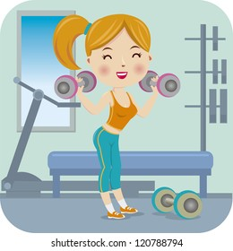 Woman exercising with two dumbbell weights on her hands