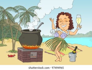 Woman in exotic costume cook lunch on the beach