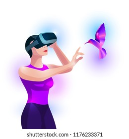 Woman experiencing virtual reality and touching virtual bird. Vector illustration.