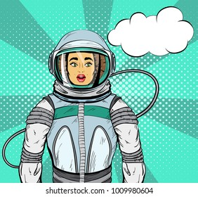 Woman with expression of surprise on her face in cosmonaut suit and speech bubble for your design, pop art style.