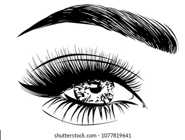 Woman eye with long lashes