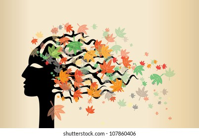 woman face and autumn leaves
