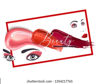 Woman face banner vector illustration. Beauty design for salon, make up artist courses training. Cosmetic products, professional care. School for beautician. Masterclass.