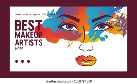 Woman face banner web vector illustration. Beauty design for salon, make up artist courses training. Cosmetic products, professional care. School for beautician. Masterclass.