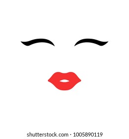 Woman face. Beauty concept. Eyelashes and lips. Make up. Vector illustration