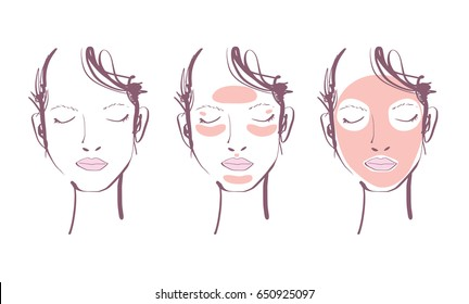 woman face with beauty mask template set