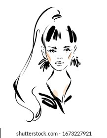 Woman face black and white ink drawing sketch.