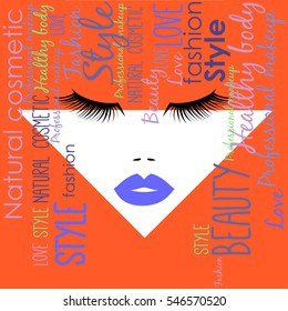 Woman face with blue lips and abstract orange hairs from different text. Vector illustration