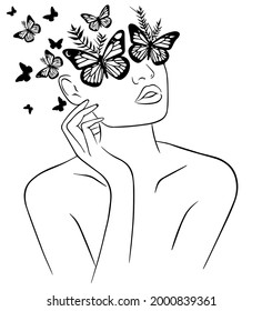 Woman face with butterfly, Abstract face with butterfly by one line drawing, Woman head with butterfly composition, Portrait minimalistic style
