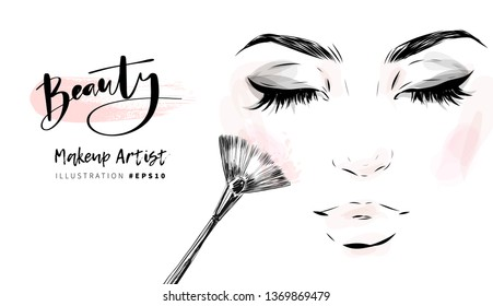 Woman face with closed eyes makeup sketch. Make up artist business card design, cosmetics banner background, beauty invitation.