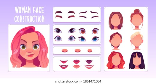 女性の顔のコンストラクター、白人女性のキャラクター作りの頭、髪型、鼻、眉と唇を持つ目のアバター。 白い背景に顔のコンストラクションエレメント、カートーンベクター画像セット