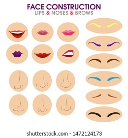 Woman face constructor. Different eyebrows, lips and noses. Cartoon vector style. Creation of spare parts. Character. Vector.