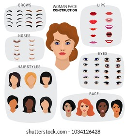 Woman face constructor vector female character avatar creation head lips nose and eyes illustration set of facial elements construction eyebrows and hairdo isolated white