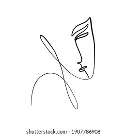 Woman face continuous line drawing. Fashion contemporary elements with ethnic female faces, leaves, flowers, shapes in modern Ink painting style. Minimalistic aesthetic concept