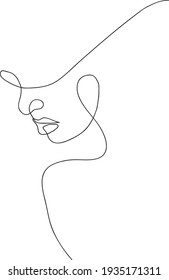 Woman face continuous line drawing. Vector illustration
